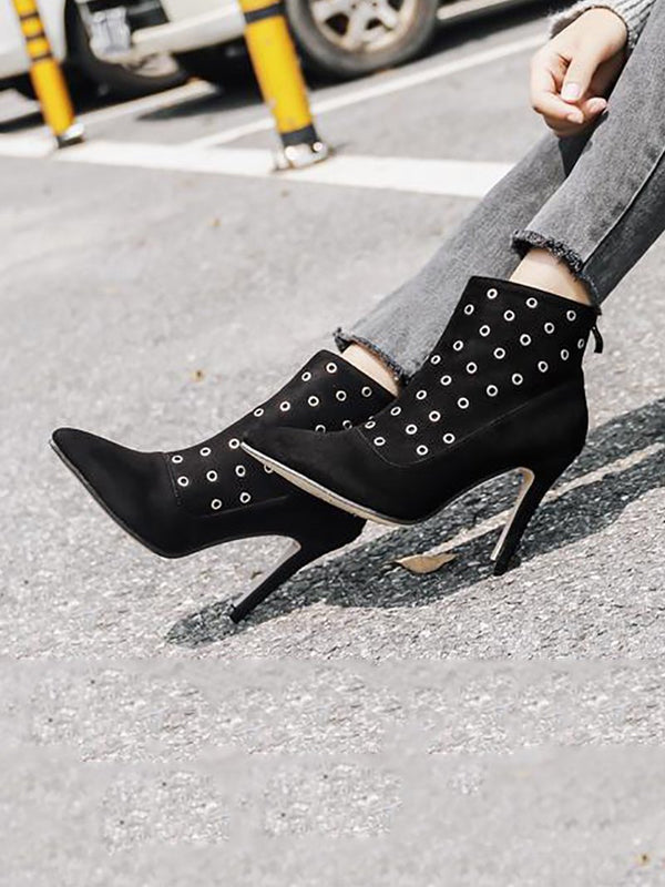 Suede Eyelets Ankle Boots