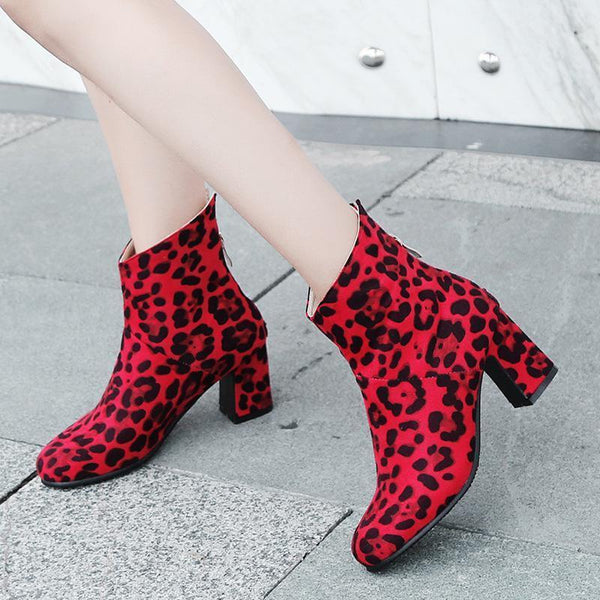 Sexy Low Heel Leopard Print Short Martin Boots