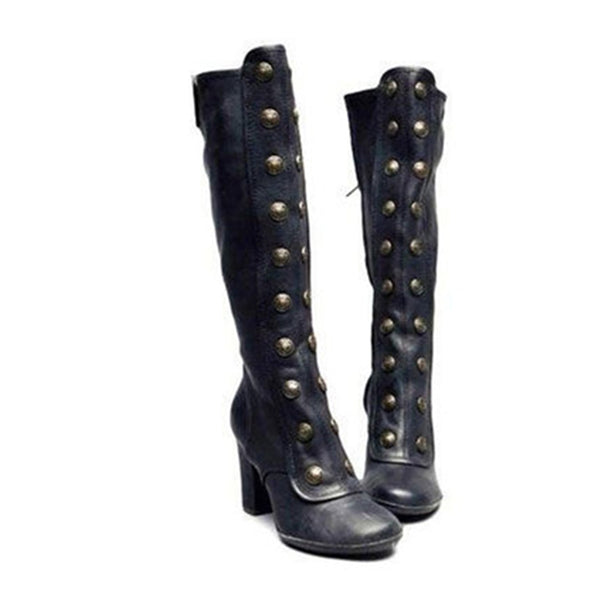 High Heeled Round Toe Date Outdoor Knee Boots