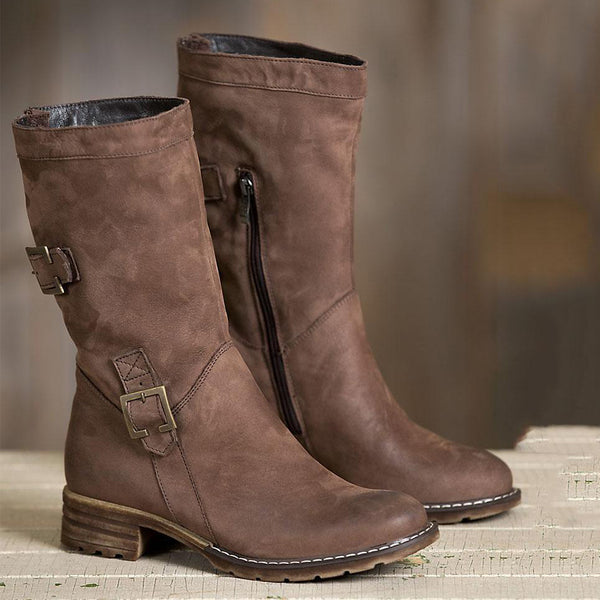 Plain Flat Round Toe Casual Date Mid Calf Flat Boots