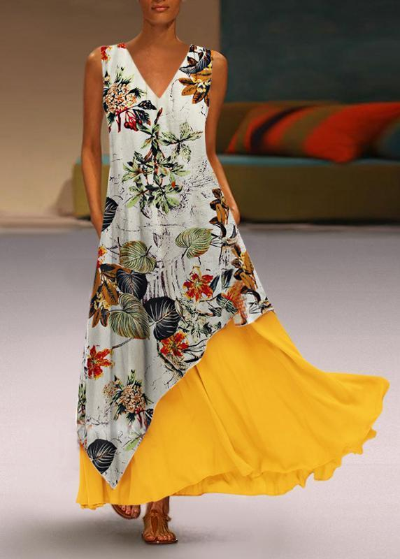 Elegant V Neck Splicing Printed Colour Sleeveless Dress