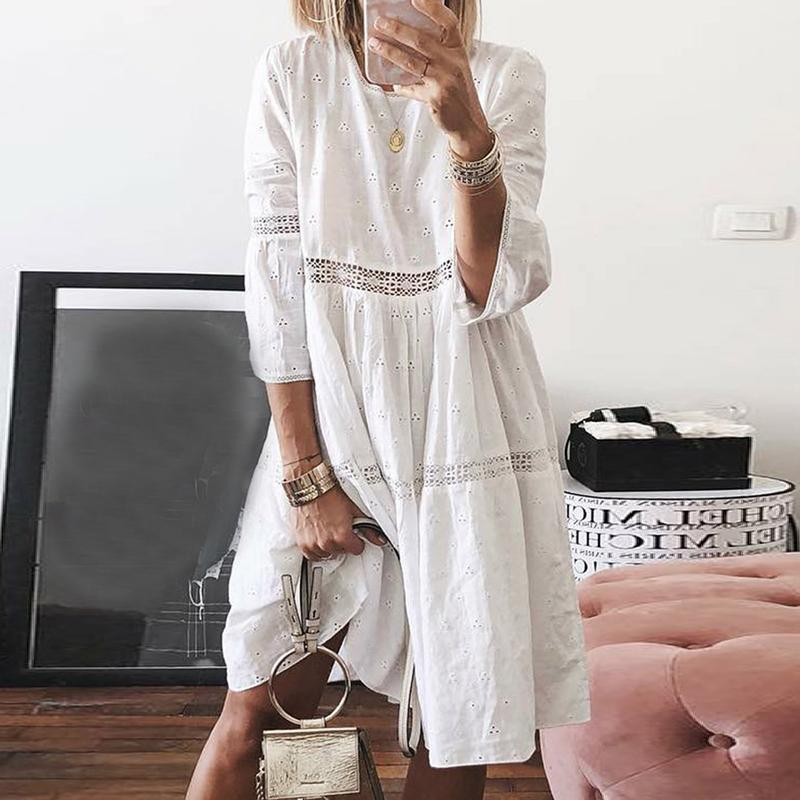 Elegant Lace Splicing Bracelet Sleeve Inwrought Casual Dress