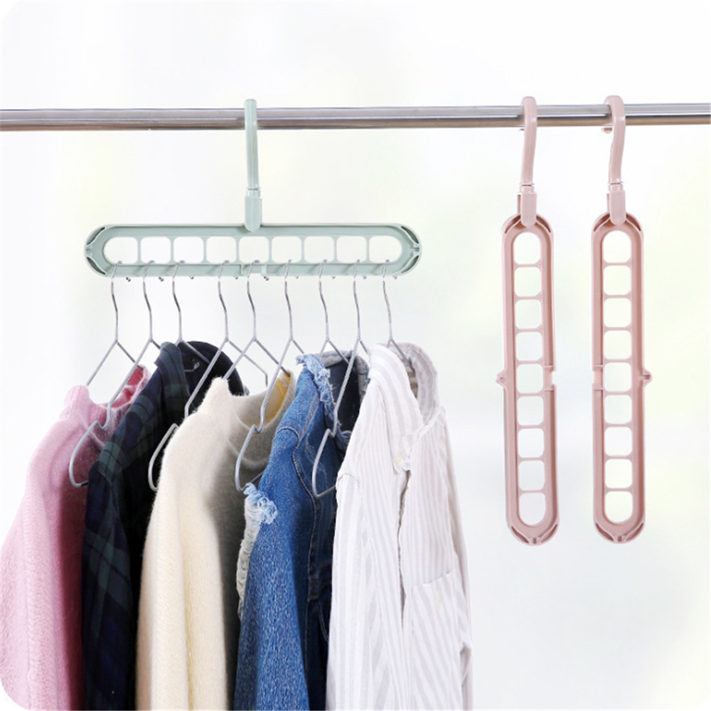 Nine-hole rotatable multifunctional plastic hanger
