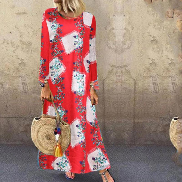 Casual Loose Print Round Neck Long Sleeves Maxi Dress