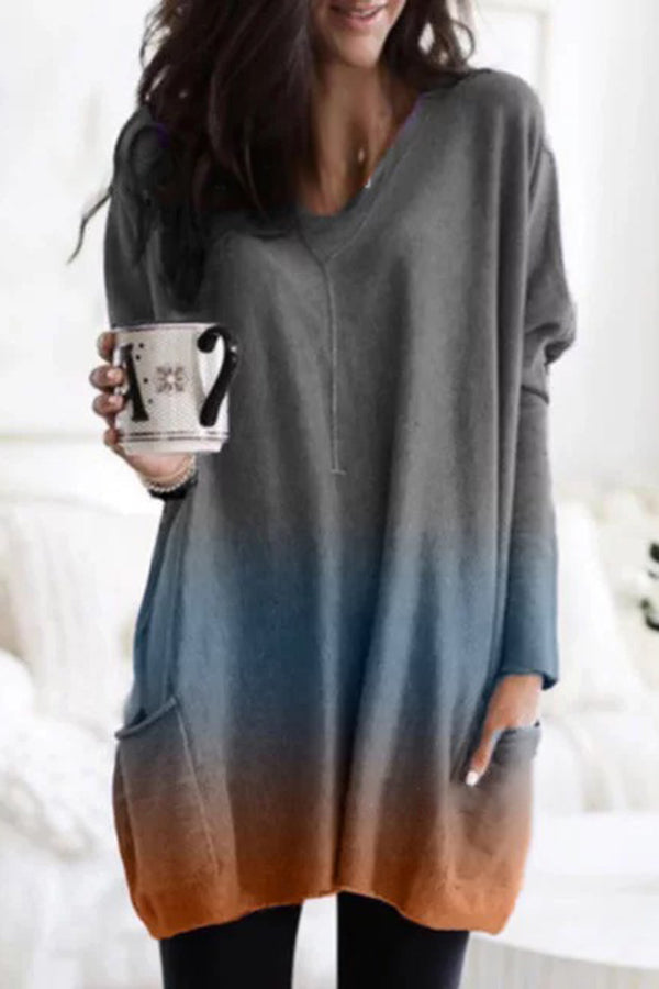 Fashion Plus Size Gradient V-Neck Loose Tunic