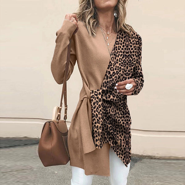 Women's Vintage V-Neck Leopard Print Belted Long Sleeve Midi Top