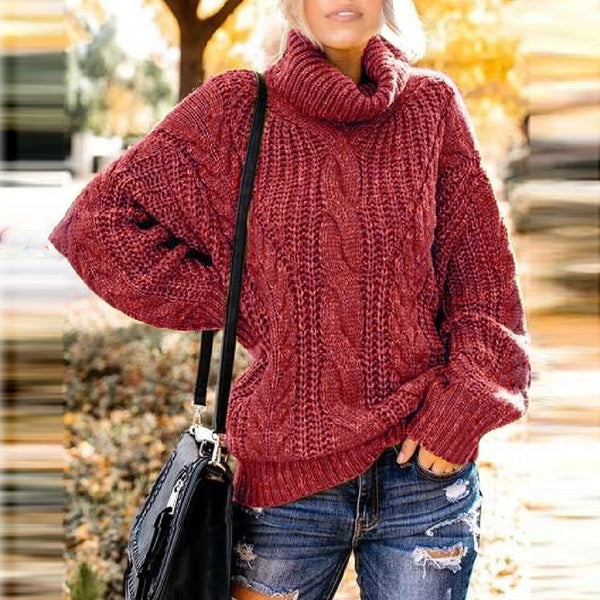 Casual high collar solid color twist loose knit sweater