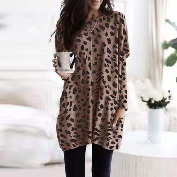 Fashion Round Neck Leopard Print Loose Long T-Shirt