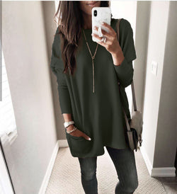 Casual women's round neck solid color T-shirt