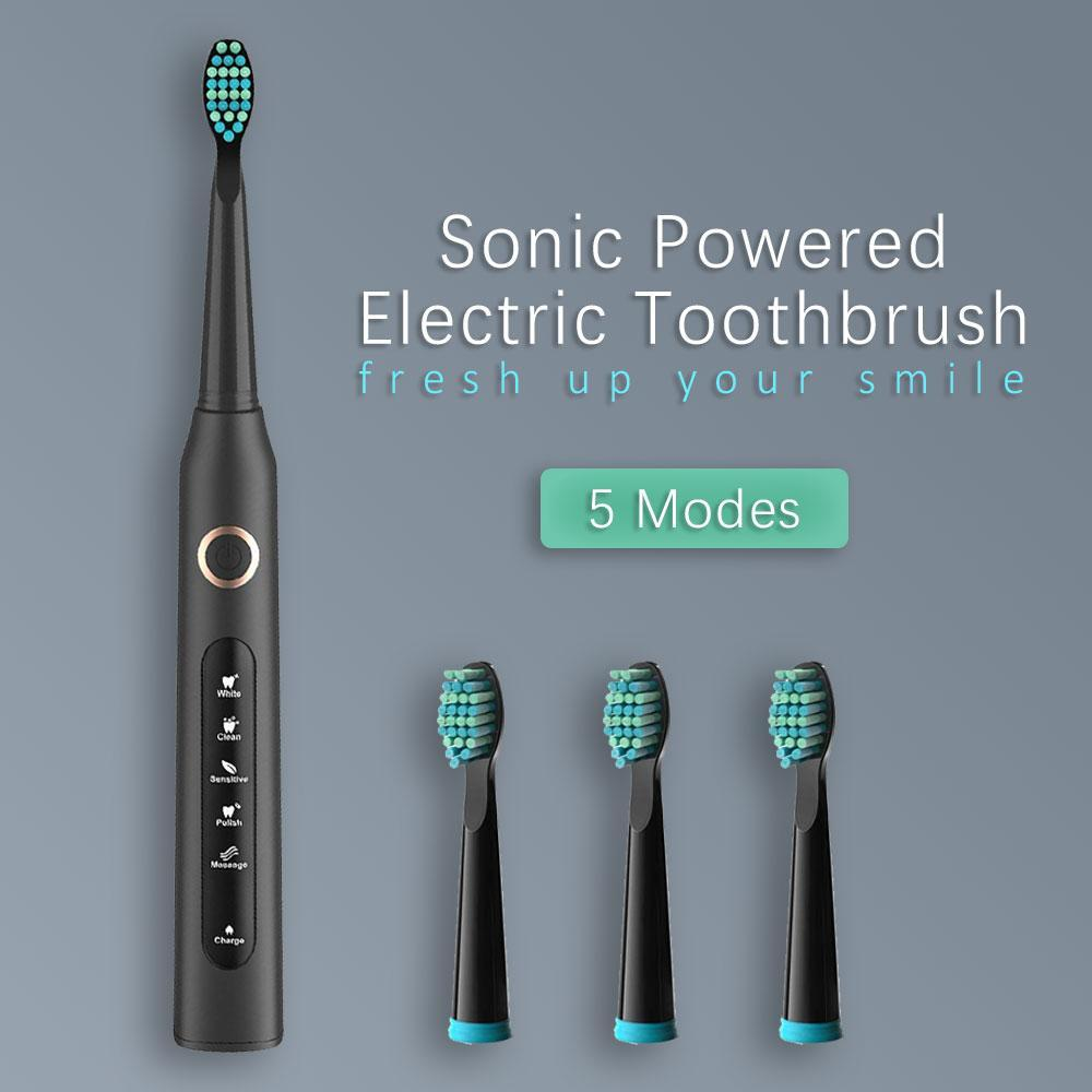 Sonic Powered Electric Toothbrush 5 Modes USB Rechargeable