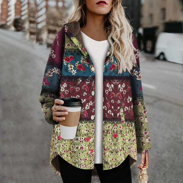 Women's Fashion Single-breasted Long Sleeve Printed Color Hooded Coat