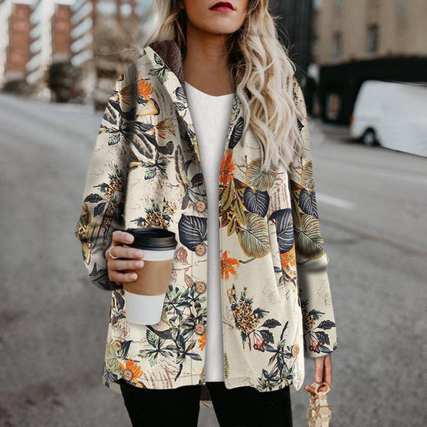 Hooded single-breasted printed velvet thick linen jacket