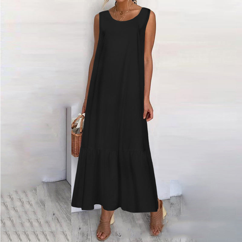 Casual Round Neck Sleeveless Midi Dress