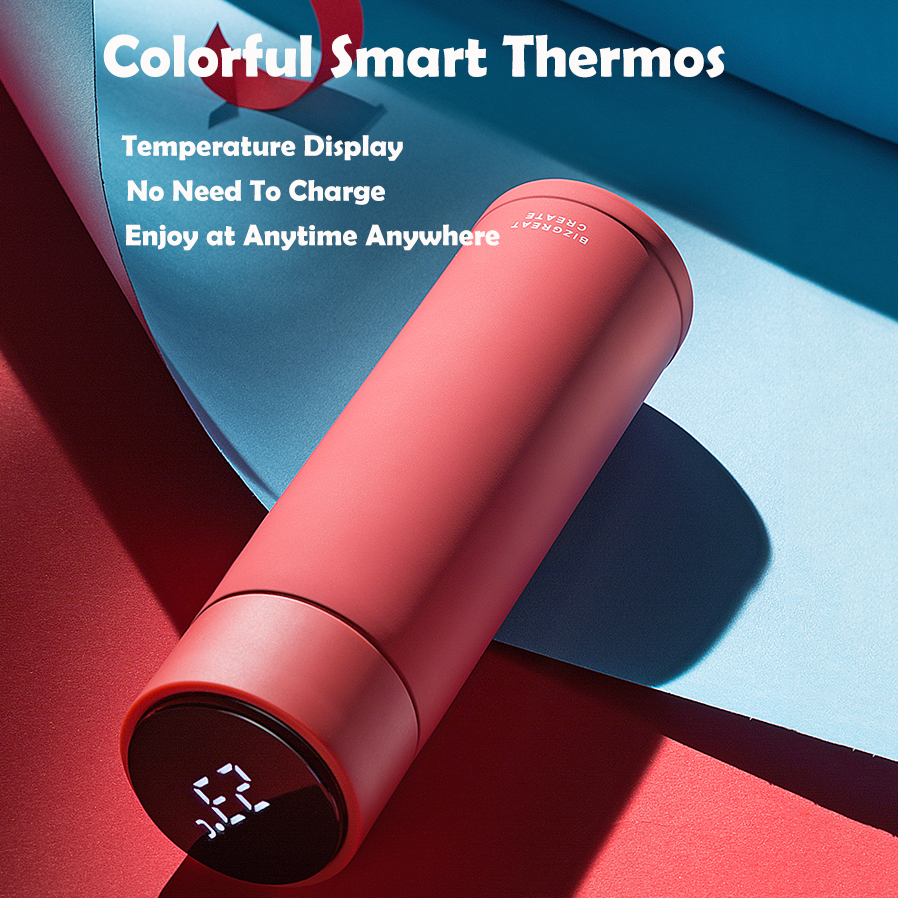 Smart Thermos with Temperature Display Stainless Steel 10 Colors Opt