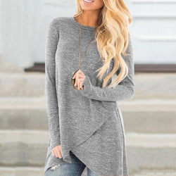 Women's Irregular Hem Round Neck Long Sleeve Pure Color Top
