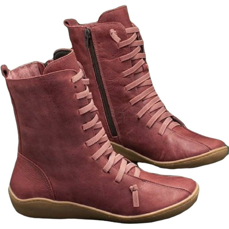 Women's Vintage Solid Color Lace Martin Boots