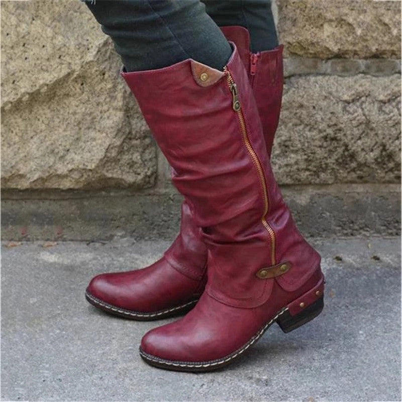 Women's casual round head side zipper boots