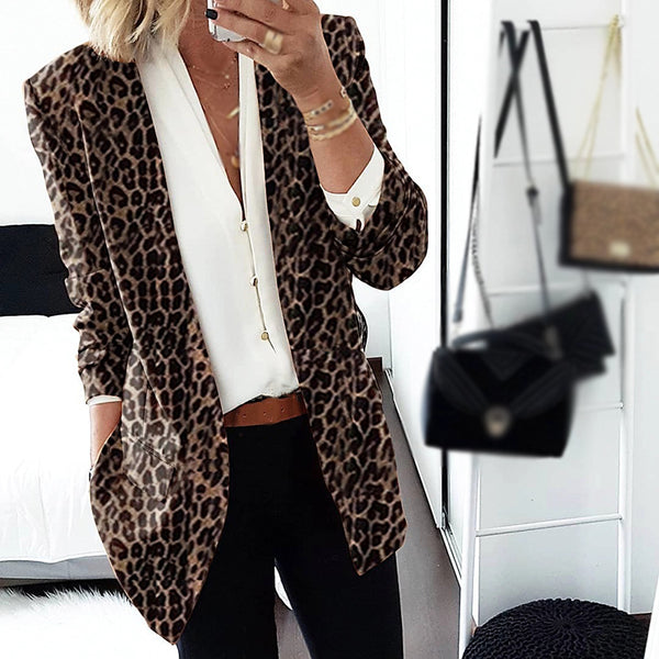 Casual Fashion Loose Leopard Blazer