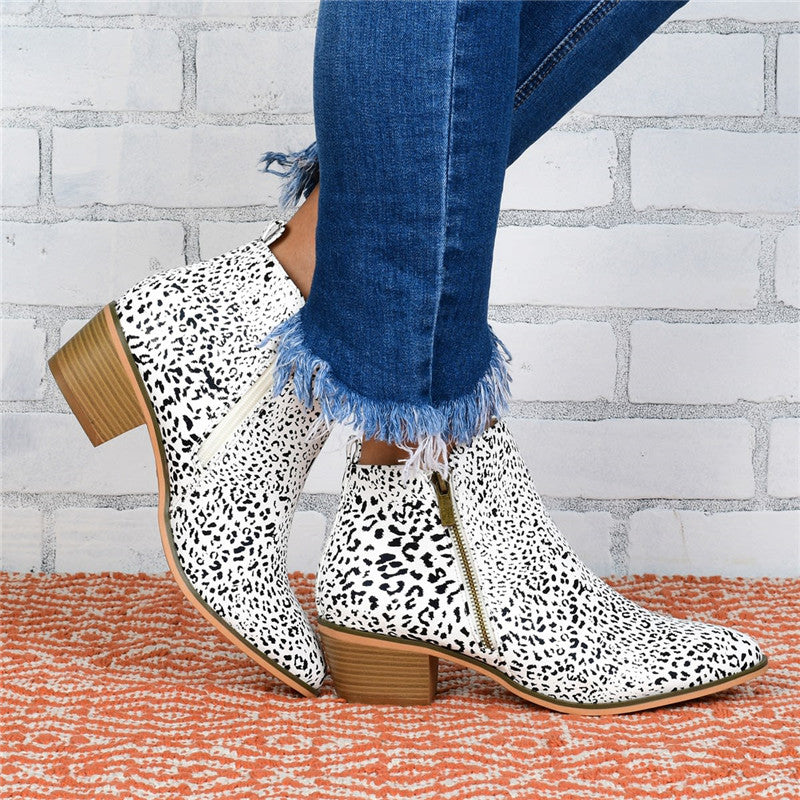 Women's Vintage Double Zip Buckle Boots