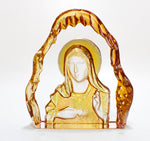 ORANGE Colour Mother Mary Cryatal Glass Sculpture