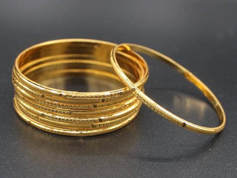 Traditional Gold Plated Bangles (Pack of 8 Bangles) D1