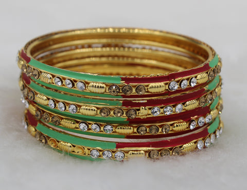 Multicolour Gold Plated Brass Bangles ( Pack of 4)JBD17