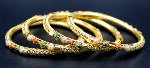 Rajasthani Design  Gold Plated Brass Bangles (Pck of 4)JBD48