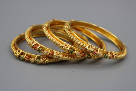 Rajasthani Design Gold Plated Brass Bangles( Pack of 4)JBD69