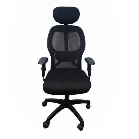 High Back Revolving Chair with Headrest and Centre Tilt Mechanism in Black Fabric and mesh/net back (Adjustable Arms) Fabric Office Executive Chair  (Black)