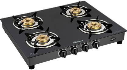 SUNFLAME CROWN 4B BK Glass Manual Gas Stove  (4 Burners)