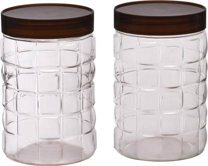 Steelo Steelo 2000ml x 2 pcs PET Container Set (Solitaire) - 2000 ml Plastic Grocery Container  (Pack of 2, Clear)
