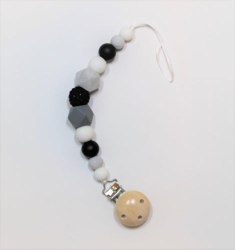 Grey & White Pacifier Clip