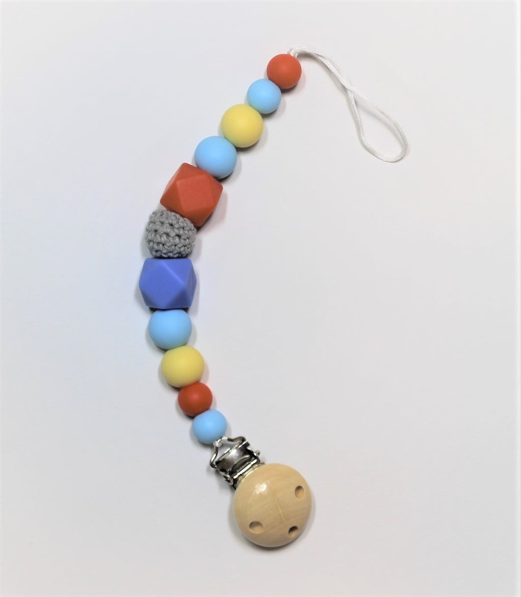 Blue, Orange & Yellow Pacifier Clip