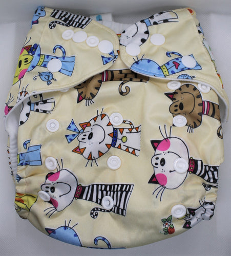 Colourful Cats Modern Cloth Nappy