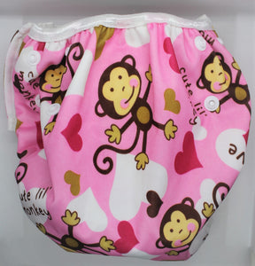 Pink Monkey Swim Nappy