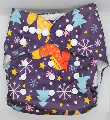 Winter Unicorn Modern Cloth Nappy
