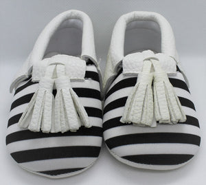 Black & White Striped Tassel Shoes