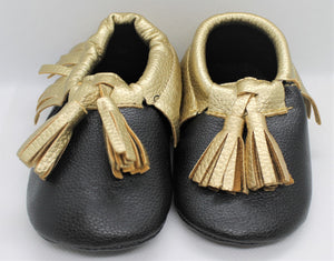 Black & Gold Tassel Shoes
