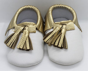 White & Gold Tassel Shoes