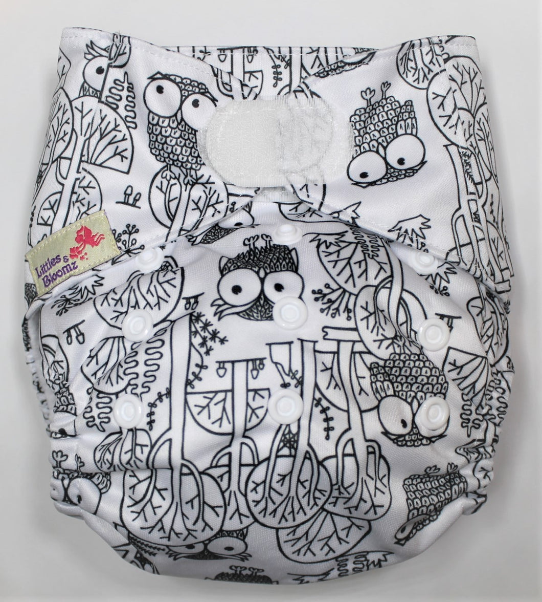 Owl Hook & Look Modern Cloth Nappy
