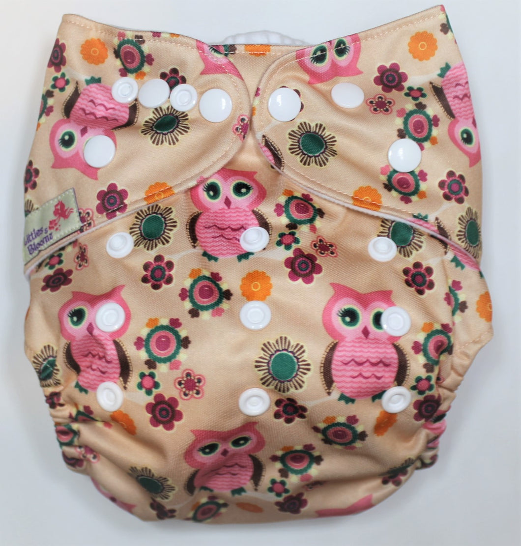 Pink Owl Modern Cloth Nappy
