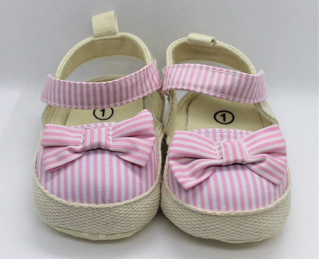Pink Striped Bow Sandals