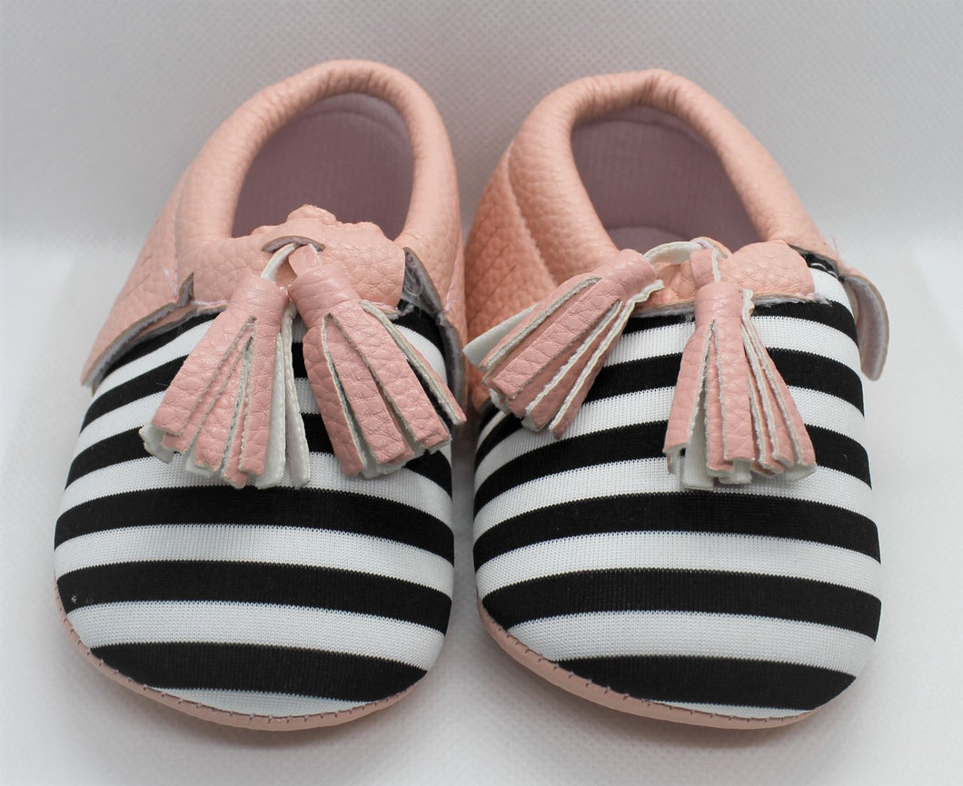 Pink Striped Tassel Shoes