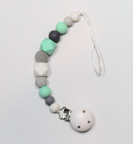 Mint Green & Grey Pacifier Clip