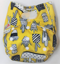 Load image into Gallery viewer, Yellow Cactus Hook & Loop Modern Cloth Nappy