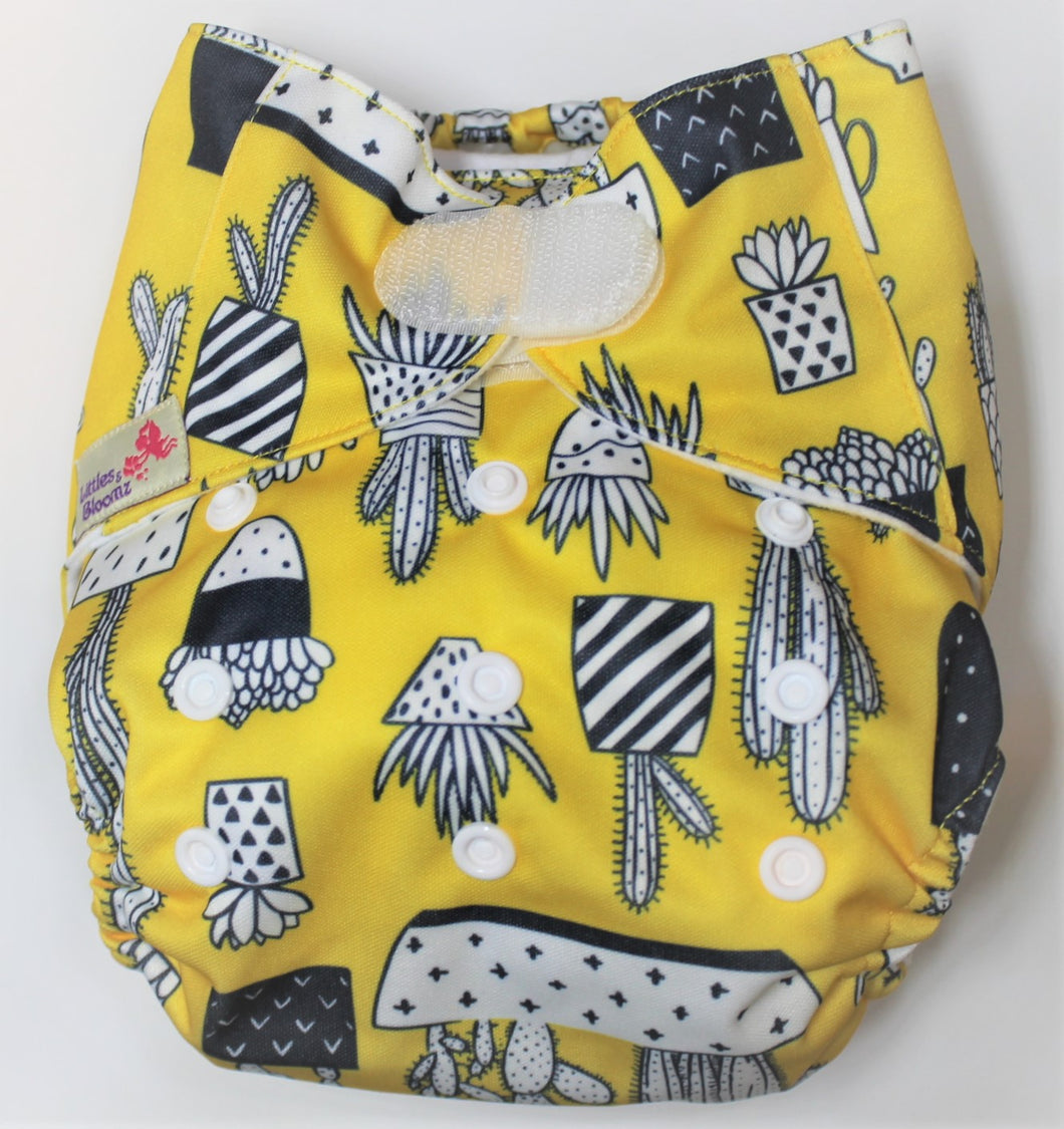 Yellow Cactus Hook & Loop Modern Cloth Nappy