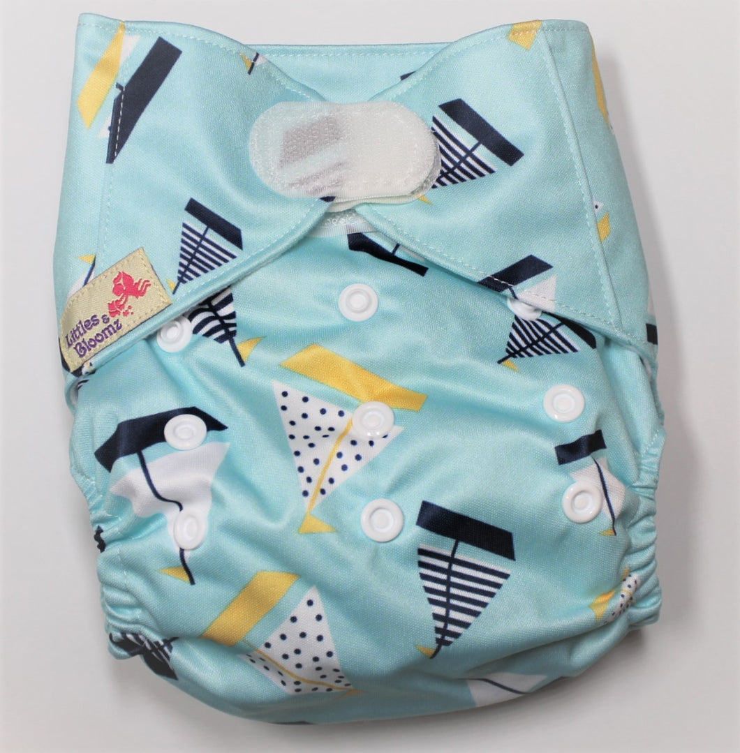 Sail Boat Hook & Loop Modern Cloth Nappy