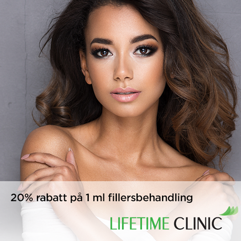 20% rabatt på 1 ml fillersbehandling hos Lifetime Clinic