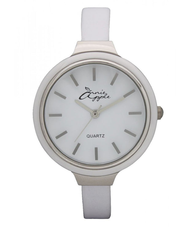 Annie Apple Simplicity Silver and White Watch Ladies