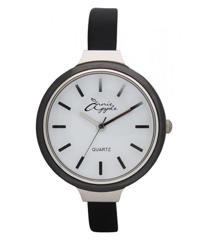 Annie Apple Simplicity Silver, White and Black Watch Ladies